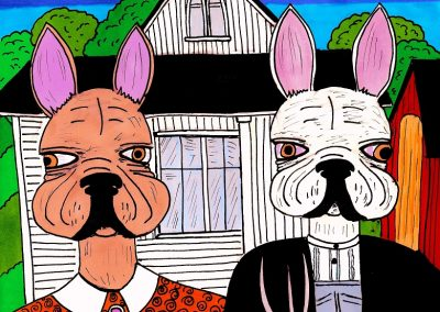 French Bulldog Gothic. An A4 illustration based on a canine version of American Gothic. © The Gingerist