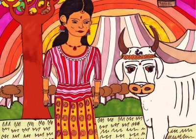 Holy Cow. A psychedelic A4 illustration on an Indian theme. © The Gingerist