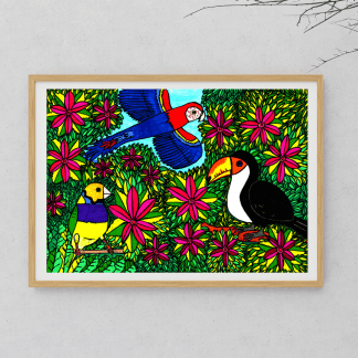 Birds In The Jungle. A1 print by The Gingerist